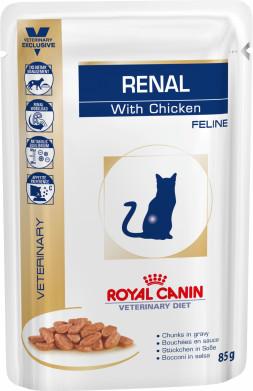Κλινικη διαιτα κονσερβα γατας Royal Canin Renal κοτοπουλοείναι μια πλήρης διαιτητική τροφή για γάτες